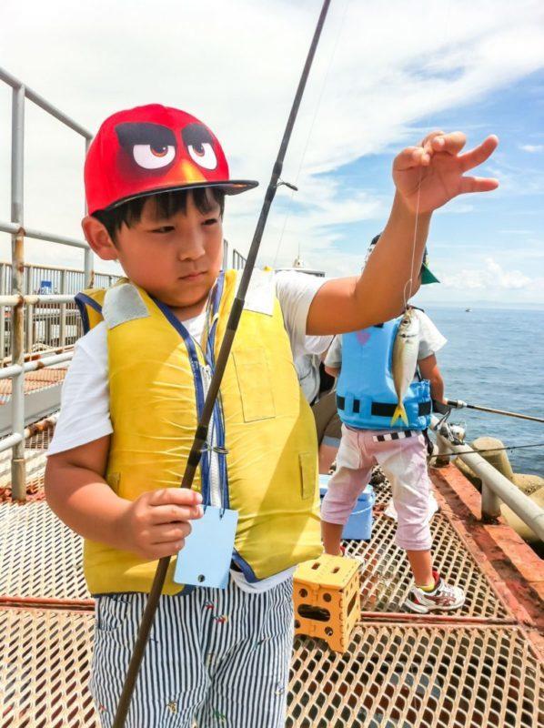 サビキ釣りをする少年
