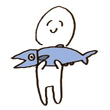 魚を持つ人