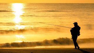 砂浜で釣りをする人